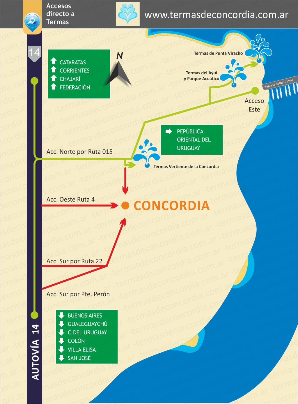 Mapa, plano de acceso a Concordia